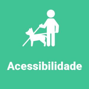 Imagem verde com símbolo branco de pessoa com bengala e cão-guia.