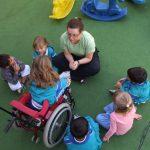 Fotografia de cima para baixo, em ambiente educativo, com professora e seis crianças, uma delas em cadeira de rodas.