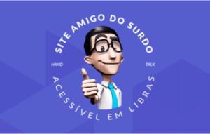 Em fundo azul, ilustração de Hugo, um homem branco de cabelos escuros e óculos usando camisa brancaa e gravata azul. Há o texto: Site amigo do surdo, acessível em libras