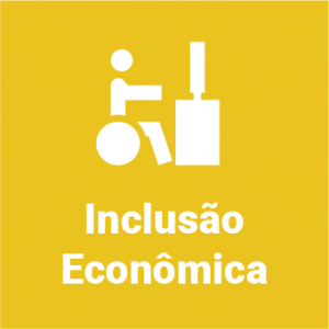 """Em fundo amarelo, arte minimalista de um cadeirante em uma mesa com computador e o texto """"Inclusão Econômica"""""""