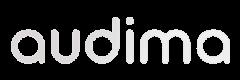 Logomarca da Audima, cor branca.