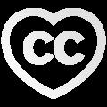 Logo Creative Commons, coração com edição na cor branca.